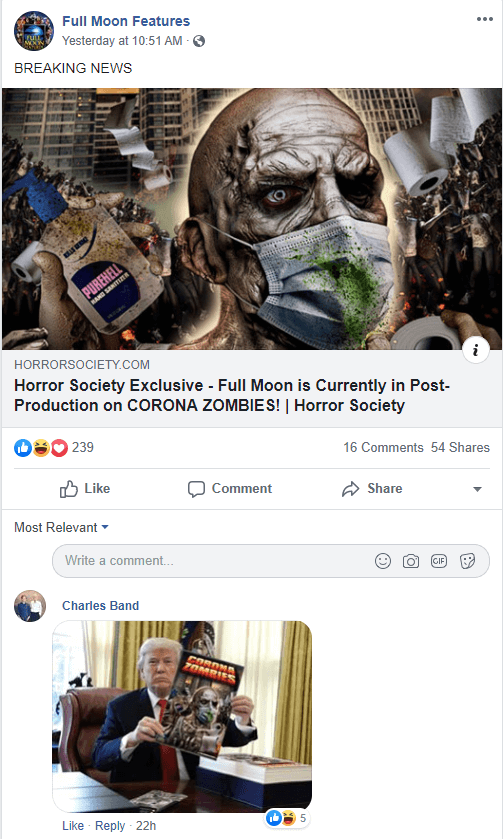 Corona Zombies Reaction on Facebook