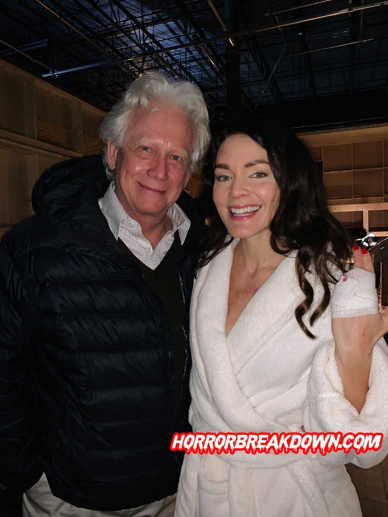 Hannah and Bruce Davison on the set of the Creepshow TV series